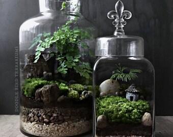 Woodland Terrarium Garden with Miniature House and Fleur de Lis Finial