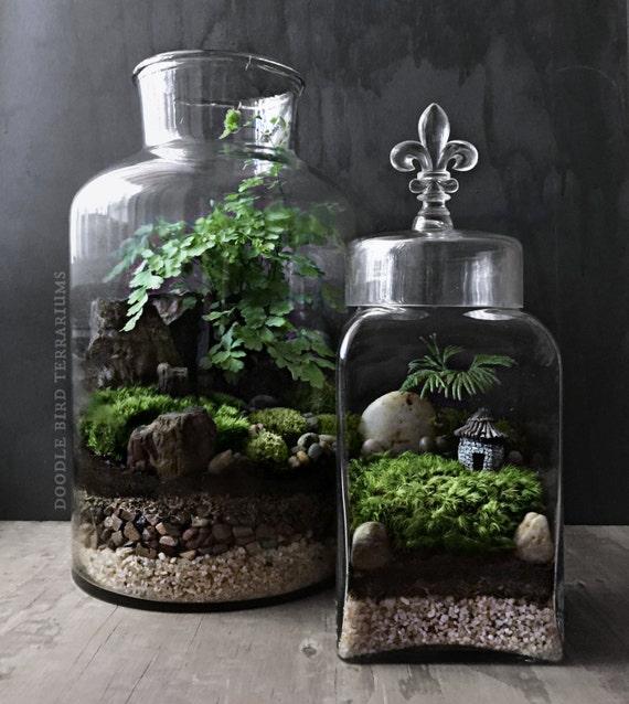 woodland terrarium garden with miniature house and fleur de. Black Bedroom Furniture Sets. Home Design Ideas