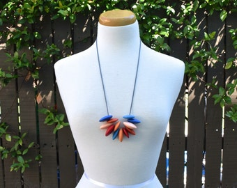 Paradise Fiesta resin bead necklace on adjustable cotton cord red orange blue peach