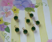 7 Emerald Green Vintage Swarovski Rhinestone Drop with Loop Charms