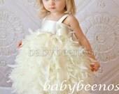 Flower girl dress,  Feather Dress, Ivory dress - SWAN
