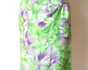 Wrap Skirt, Beach Sarong,  Tropical Print, Rayon Fabric, Purple Lime Green