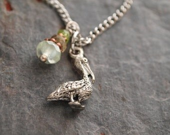 Gemstone and Pelican Pendant