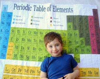 Organic Baby Quilt- Periodic Table- Modern Baby Blanket- Geekery, Kids