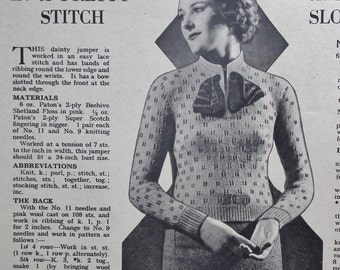 Home Journal March 1935 Vintage 1930s Women's Magazine UK - includes knitting pattern for women's sweater - 30s fashions adverts cookery