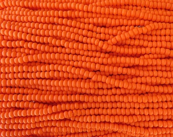 6/0 Matte Opaque Orange Czech Glass Seed Bead Strand (CW107)