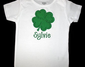 Custom Personalized Applique St Patricks Day SHAMROCK and NAME Bodysuit or Shirt - Green Polka Dot