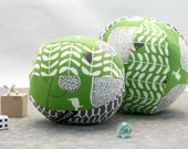 Rattle Ball - Little Birdies in Green Mod Garden- Baby Toddler Toy - Easy Grasp Soft Ball - Organic Cotton