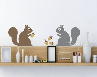 Squirrel wall decals, woodland animal, wall decal, Tree Squirrel, vinyl squirrel stickers, Nursery Wall Decals, Squirrel, animal wall decals