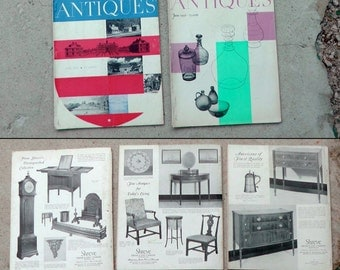 Lot of 9 mid century 1956 Antiques Straight Enterprises magazines Victorian early 1900s decorative art decor history ads photography prints