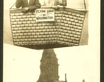 Washington - Hot Air Balloon - Arcade Photo RPPC