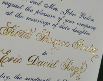 Navy and Gold Wedding Invitations, Gold Foil Invitations with Navy Letterpress