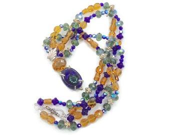 Art Glass Necklace, Cobalt Blue, Golden Honey,  Beaded Necklace, Boho Statement, Sterling Silver, Vintage Pendant, Bohemian, Multistrand