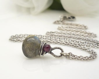 Small labradorite necklace with red garnet, sterling silver, blue and gray gemstone necklace, wire wrapped jewelry, handmade