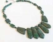 Blue Green Gemstone Necklace Set, Lapis Crysocolla, Unusual Gemstone Fan