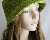 Flapper Inspired Hat Womens Crochet Hat Avocado Green Cloche Hat Brimmed Beanie Spring Fashion Winter Hat Small Brim