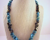 Turquoise blue and black chip beaded necklace. Mottled stones, simple statement jewelry. Earthy OOAK gift for friend, sister, mom, daughter.