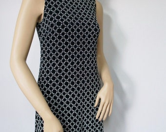 Vintage Dress 1990's Black and White Shift Knit Stretch Dress Mini Sleeveless Stretchy Dress Size Small