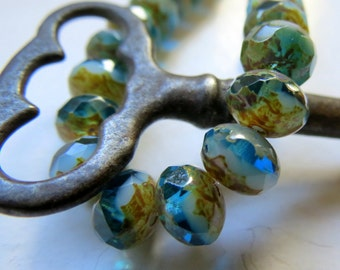 BACK IN STOCK Blended Beach No. 2 Rondelles . Czech Picasso Glass Beads (10 beads) 6 by 8 mm