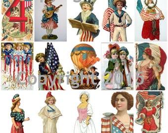 Patriotic Images Collage Sheet, Digital Scrapbooking, Prints, Instant Digital Download PDF File
