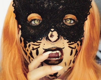 Adult Size Embroidered Lace Cat mask