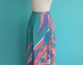 SALE 20% OFF coupon code FALLFORWARD16 ~ vintage 80's pink pucci style print skirt // abstract midi skirt