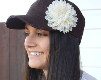 Brown Womens Hat, ivory Flower Hat, distressed hat, womens cap, Cadet Cap, brown hat, gift for mother, baseball cap, cadet hat, mothers day
