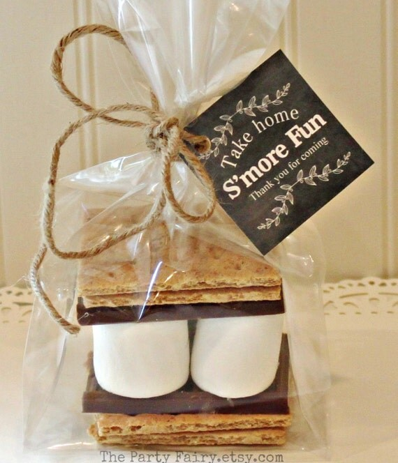 S'mores Party Favor Kits, 12 S'mores Favor Kits with Chalkboard Tag, Rustic Wedding Favors, Cowboy Party, Camping, Party Favor, Baby Shower