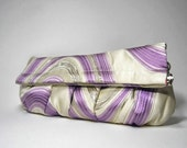 Japanese Kimono and Obi clutch bag in white, purple and silver swirls