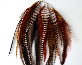 """Feather Ear Cuff - """"Earth Elegance"""" - Black, Ginger and Brown Grizzly Rooster Feathers with Amber Bead"""