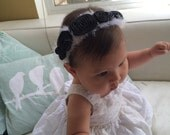 """Black, White & Pink Baby Stretchy Headband 14"""" 6 to 9 months"""