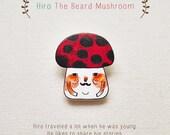 Hiro The Beard Mushroom - Handmade Shrink Plastic Brooch or Magnet - Wearable Art - Made to Order