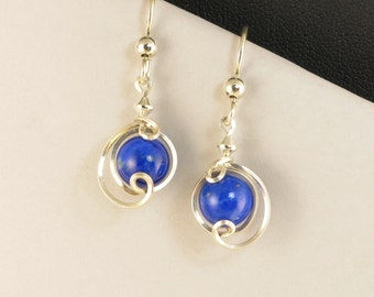 Lapis Lazuli Small Dangle Drop Silver Earrings, Royal Blue Lapis Gemstone Unique Wire Wrapped Sterling Silver Earrings, Jewelry Gift For Her