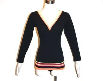 OSCAR de la RENTA Swimwear Vintage Black Neon Striped Swimsuit - AUTHENTIC -