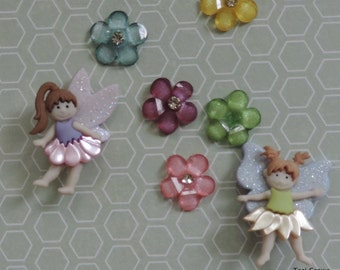 """Fairy and Flower Buttons and Embellishment Package, """"Magical Fairies"""" by Dress It Up Jesse James, Sewing, Crafting Buttons"""