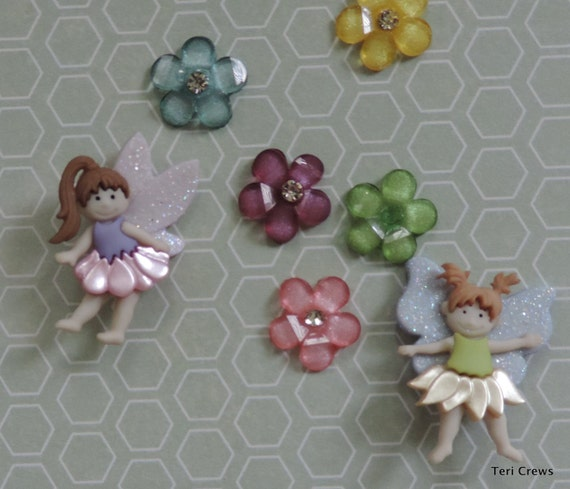 "Fairy and Flower Buttons and Embellishment Package, ""Magical Fairies"" by Dress It Up Jesse James, Sewing, Crafting Buttons"