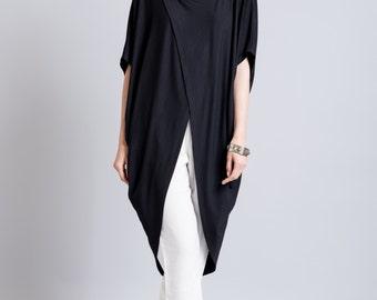 Short Sleeve Tunic Top / Black Asymmetric Blouse / Extravagant Shirt / Oversize Party Top / Long Tunic / marcellamoda - MB299