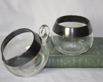 Dorothy Thorpe Madmen Roly Poly Banded Sugar and Creamer Nice Silver Clear Glass Blown Glass MidCentury Collection Quality Display