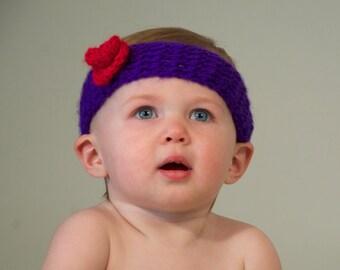 3-6 mo. Handmade Baby Girl Rose Headband (purple/red rose).  Made to Order.