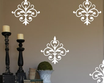 Damask Vinyl Wall Decal- Damask #1 -Wallpaper Design-Bedroom Decor- Wall Decor- Designer Decor-Scroll-Decal-Matte Vinyl