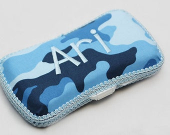 Personalized Wipes Case - Blue Camo