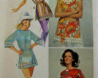 Simplicity Pattern 9368 Beach Cover-Up, Mod Top, Hippie Top 1971 Groovy