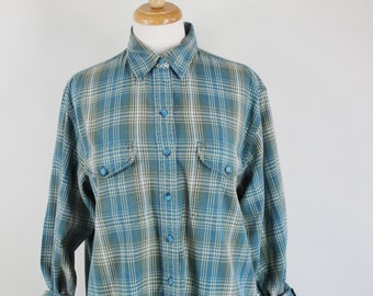 90s Womens Light Blue Plaid Plus Size Cotton Grunge Button Down Shirt, Size Large, FREE SHIPPING
