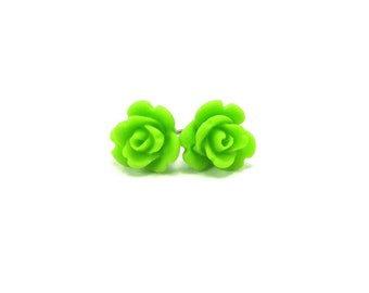 Mini Lime Green Rose Earrings- Surgical Steel or Titanium Posts- 9mmBlack Friday Sale 20% Off