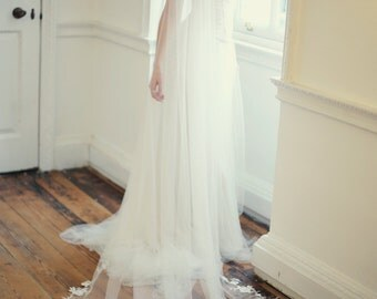Long lace veil with ethereal, hand pieced floral lace edging - pale ivory