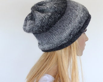 Slouchy Black and White beanie , Black hand knitted slouch beanie , Unisex slouch hat
