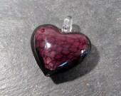 Murano HEART Pendant VINTAGE Glass Pendant Purple Lampwork Heart Pendant Purple Black Vintage Jewelry Supplies Lampwork Glass (A21)
