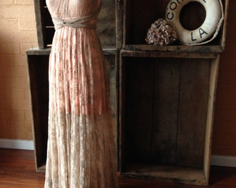 Beige with Peach Full Lace Octopus Infinity Dress. Lace Straps with Lace overskirt Infinity Wrap Wedding, Bridesmaids, Maternity Dress