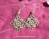 Diamond Filigree Earrings Antiqued Silver with Flower Detail Surgical Steel French Hooks Super Sale USA