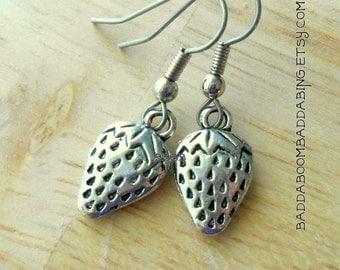 Strawberry Earrings Antiqued Silver Earrings Charm Earrings Surgical Steel French Hooks
